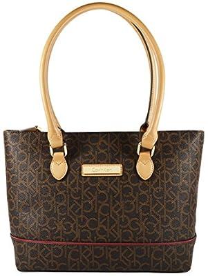 Calvin Klein Logo Tote Handbag Brown/Khaki/Camel/Red