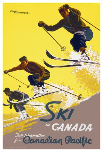 Ski in Canada (Canadian Pacific) Vintage Art Poster Print
