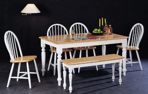 6 Piece Wood Top Table, Chair Bench Set