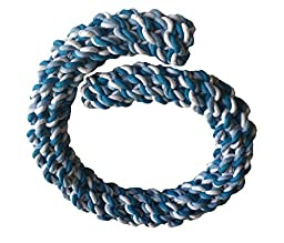 Brogan\'s Heroes EXTRA EXTRA LONG 34-INCHES (Almost 3 FEET) Blue & White Braided Woven Rope Dog Toy for XL Large Dogs