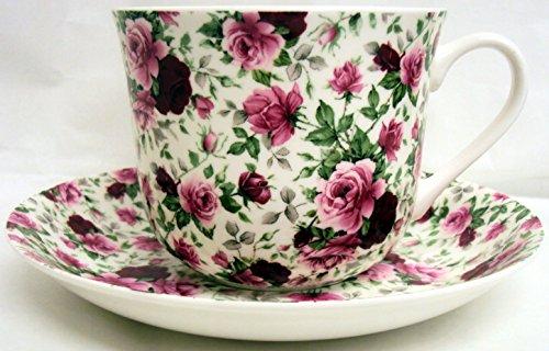 Anglais Rose Tasse et soucoupe pour petit déjeuner en porcelaine fine Roses grand ensemble tasse et soucoupe décorée à la main au Royaume-Uni