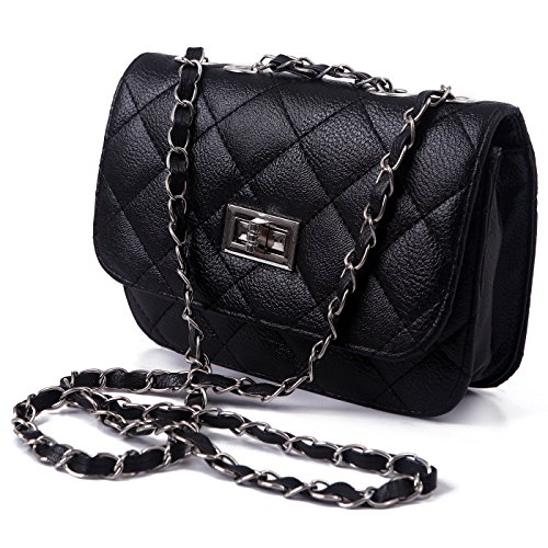 HDE Mini Faux Leather Quilted Shoulder Bag Clutch with Lace Threaded Metal Chain Strap (Black)