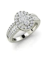 Oval Cluster Ring With 3 Rows Of Sparkle On Sides (AELR0089W)