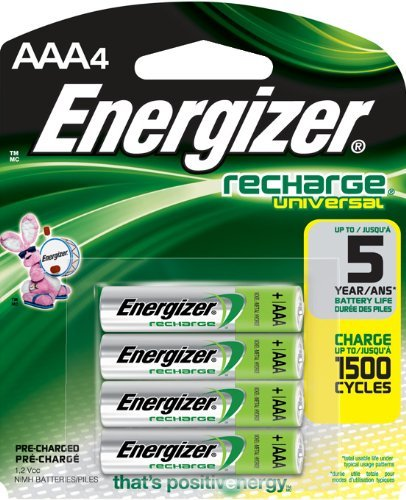 Energizer Piles rechargeables NiMH AAA universel, 4 (500 mAh, 1500 cycles, pré-chargées) style : AAA unh12bp Taille : 4 fils