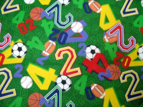 SheetWorld Crib / Toddler Sheet - Sports Numbers - Made In USA