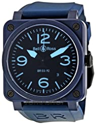 Affordable!! Bell and Ross Black Dial Automatic Blue Rubber Mens Watch BR0392CREAMBLUE Special offer