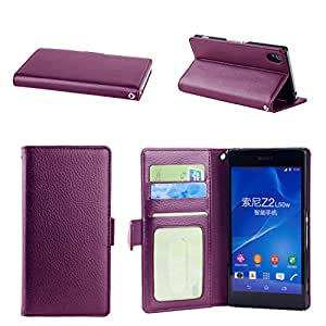 NOSWear (Slim Fit Series) for Sony Xperia Z2 PU Leather WALLET Case - 3 Credit Card Slots with Magnatic Strap for Secure Close and Premium Interior Fibre - Stand Position for the Face Time our Watching Movies (Purple)