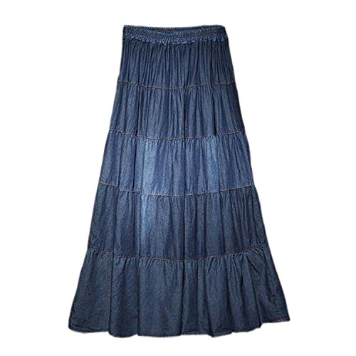 Tengfu Womens Elegant Casual A-line Ankle Length Long Denim Prairie Skirts Denim Maxi Skirt