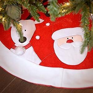 """Christmas Ltd 48"""" Red Velvet Christmas Tree Skirt With Characters"""
