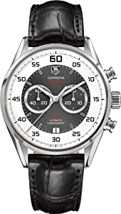 Tag Heuer Carrera Chronograph Silver and Grey Dial Black Leather Mens Watch CAR2B11FC6235