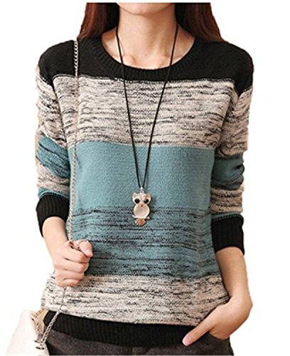 Donna Maglia Maglione Manica lunga in maglia Pullover Autunno inverno cardigan maglia di lana (blu)