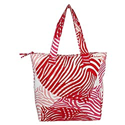 Anekaant Zebra Women Canvas Red Tote bag