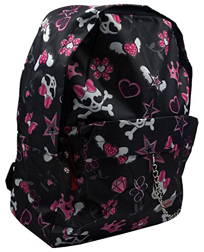 Devil Dagger Felice Teschio Nero Rosa, Bow Flying Hearts Diamanti Crossbons Zaino Mix Vintage Alternative Fashion Daypack Tablet Bag unisex scuola dello zaino casual