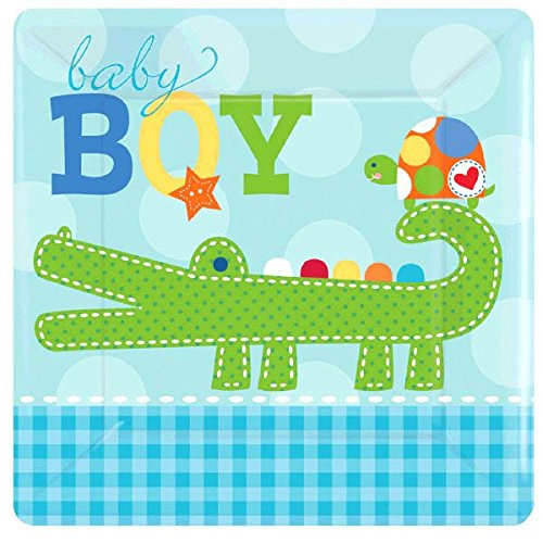 "Amscan Adorable Ahoy Baby Boy Square Dessert Party Plates, 7"", Blue"