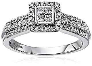 14k White Gold with Princess and Rounds Diamond with Three Rows Quad Ring (1/2cttw, H-I Color, I2-I3 Clarity), Size 8