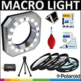 Polaroid Digital Macro 16 LED Ring Light + Polaroid Optics 4 Piece Close Up Filter Set (+1, +2, +4, +10) + Cleaning & Accessory Kit For The Nikon 1 J1, V1 Digital SLR Cameras Which Have Any Of These (10-100mm) Nikon 1 Lenses