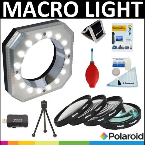 Polaroid Digital Macro 16 Led Ring Light + Polaroid Optics 4 Piece Close Up Filter Set (+1, +2, +4, +10) + Cleaning & Accessory Kit For The Pentax X-5, K-01, K-30, K-X, K-7, K-5, K-5 Ii, K-R, 645D, K20D, K200D, K2000, K10D, K2000, K1000, K100D Super, K110