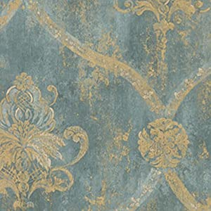 Wallpaper French Faux Aqua Blue Large Damask with Gold