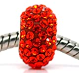 Truly Charming® Genuine 925 Silver Red Orange Crystal Charm Bead Will Fit Pandora Troll Chamilia Style Bracelets