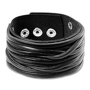 SilberDream Lederarmband schwarz Herren Leder Armband Echtleder LA2249S