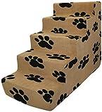 Best Pet Supplies BPS - 5-step Foam Pet Stairs/Steps - Black Paw on Beige Suede