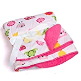 Baby Bucket Double Layer Velvet Fleece White Animal Newborn Baby Blanket (Size 102cm X 76cm) (White & Pink)