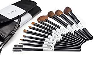 Professional Studio Quality 12 Piece Natural Cosmetic Makeup Brush Brushes Set Kit with Pouch Case Bag
