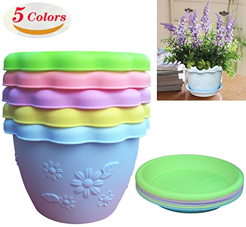 SY.XL Imported Resin Material, 5 Colors Lace Embossed Lotus Basin Plastic Flower POTS, Suitable for Large or Small Plants. Size: 5.7In (opening) x 3.2In (bottom) x 3.9In (height)