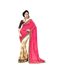 Kalazone Pink Georgette Festive Women's Sarees With Blouse Piece (S11588_S3_Pink)