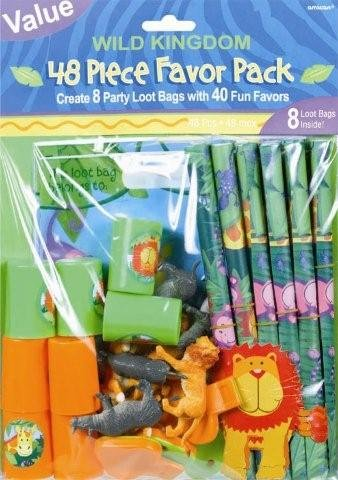 Colorful Jungle Animals Birthday Party Favor Value Pack, Multi