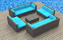 Hot Sale Urban Furnishing - BERMUDA 11pc Modern Outdoor Backyard Wicker Rattan Patio Furniture Sofa Sectional Couch Set - Sea Blue