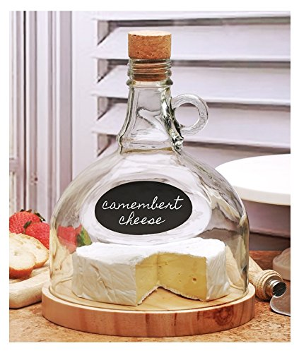 Circleware Glasss Chalkboard Cheese Tray and Moonshine Dome, 6.9