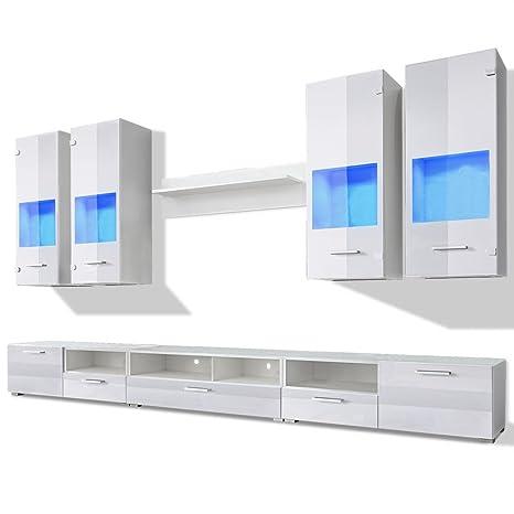 Meuble TV moderne blanc en 8 parties + lumière bleu