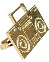 80s Rapper Costume Gold Boom Box Ghetto Blaster Ring