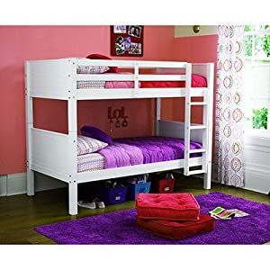 Dorel Twin Standard Bunk Bed-Modern Style Home Essential Kids will Love-Convertible Sturdy Wood Bed-Perfect Space Saver and Kid's Bedroom Furniture