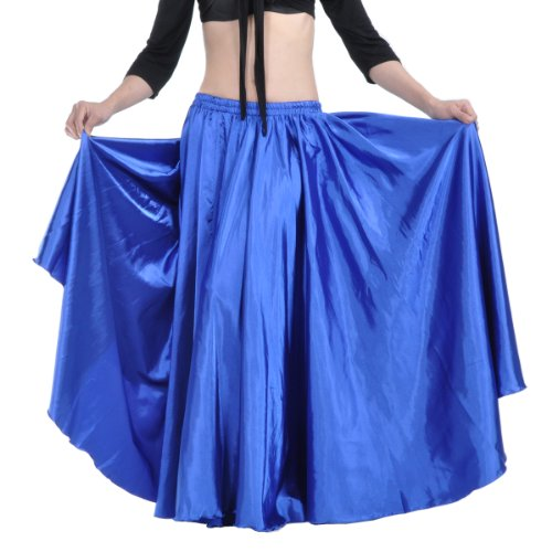 Dance Fairy sexy Dark Blue Satin Long Swing Skirt,expansion Skirt Dance Costume