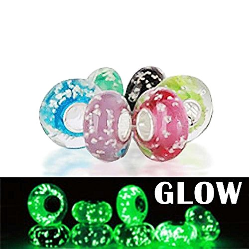 Bling Jewelry Glow in the Dark Silver Vetro di Murano Beads Sterling
