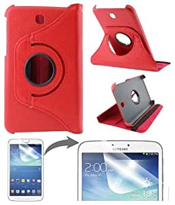 DMG Full 360 Rotating Flip Book Cover Case Stand for Samsung Galaxy Tab 3 T211 with Matte Screen protector +DMG Wristband -Red