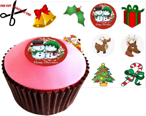 12 CHRISTMAS SET 38mm (1.5 Inch) PRE-CUT Cake Toppers Edible Rice Paper Cupcake Decoration 147