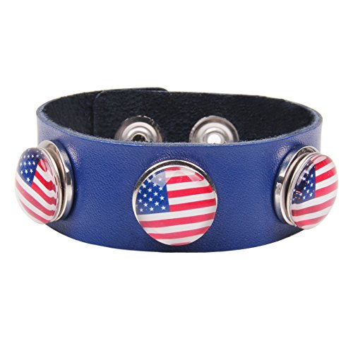 Modern Fantasy Two-Tone Flag Pattern Button Handmade Elaborate Collocation Leather Wrap Bracelet (blue)