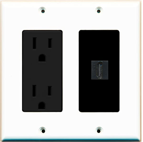 RiteAV - 15 Amp Power Outlet and 1 Port HDMI Decora Type Wall Plate - White/Black (Color: White/Black)