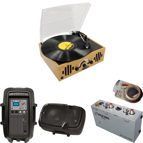 Pyle Turntable Record Player, Pre-Amplifier, Rca Cable And Speaker Package - Pvnttr22 Retro Belt-Drive Turntable With Three Speeds And Am/Fm Radio - Pp444 Ultra Compact Phono Turntable Pre-Amplifier - Pphp803Mu 8'' 600 Watt Powered Two-Way Pa Speaker With