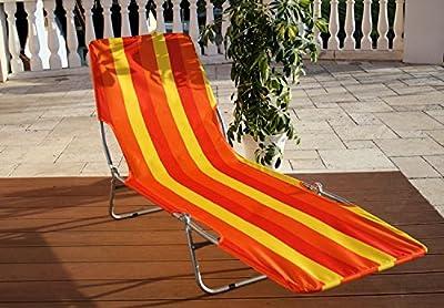 Sonnenliege KRETA Gartenliege Sonnendach SUNSET ORANGE Tragkraft bis zu 120 kg klappbar UV beständig von B+K bei Gartenmöbel von Du und Dein Garten