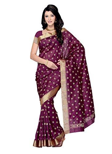 Meghdoot Wine Colour Raw Silk Saree