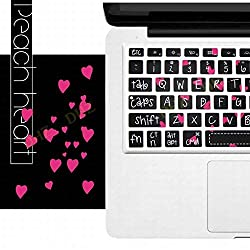 DHZ Rose Hear with Big Font Black Keyboard Cover Silicone Skin for MacBook Air 13