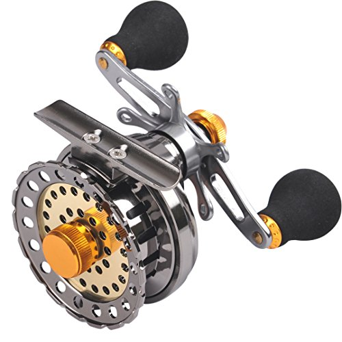 Fiblink Inline Ice Fishing Reel Metal Right/Left Handed Fishing Raft Wheel Ice Reels