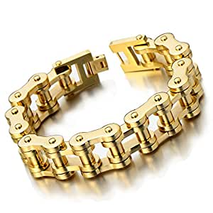 Exquisite mens gold bike chain bracelet of for What is gold polished jewelry