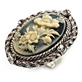 Vintage Floral Crystal Cameo Ring (Burnished Silver)