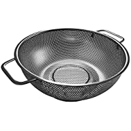 Sturdy High Quality 5-Quart Stainless Steel Colander with Easy Grip Handles – Small Hole Strainer…