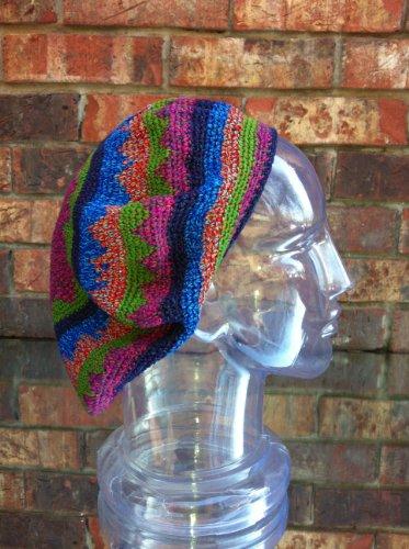 Tam Beret Solid Green Crochet Slouchy Dreadlock Reggae Rasta Cap front-367762